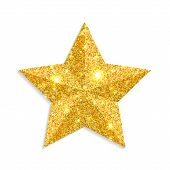 Glitter Gold Star Vector Isolated On White Background. Christmas Star Decoration. Golden Xmas Sparkl poster