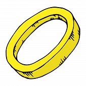 Gold Ring. Vector Illustration Ring. Hand Drawn Gold Ring Icon. poster