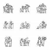 Older Person Recreation Icon Set. Outline Set Of 9 Older Person Recreation Vector Icons For Web Desi poster