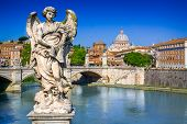 View From Ponte Sant Angelo On Tiber In Rome, Italy. On The Background The St. Peter Basilica In Vat poster