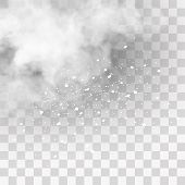 Snow And Wind On A Transparent Background. White Gradient Decorative Element.vector Illustration. Wi poster