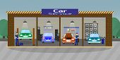 Car Service And Repair Concept. Car Maintenance In Garage. Automobile Workshop Set. Car Mechanic Wor poster
