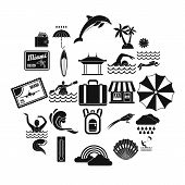 Surfing Icons Set. Simple Set Of 25 Surfing Vector Icons For Web Isolated On White Background poster