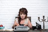 Age Barrier. Journalist Work In Vintage Office. Old Woman Work In Writer Office. Senior Woman Type O poster