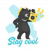Cartoon Vector Cool Black Bear Holding Boombox And Dancing, Isolated On White Background. Template D poster
