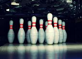 pic of bowling ball  - bowling pins closeup - JPG