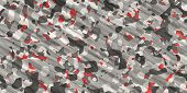 Gray Red Army Camouflage Background. Military Uniform Clothing Texture. Seamless Combat Uniform. poster