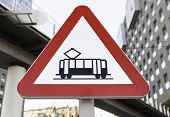 Metal Signal Tram, Detail Of Signal Information In The City, Public Transportation, Danger poster