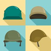 Army Helmet Icon Set. Flat Set Of Army Helmet Vector Icons For Web Design poster