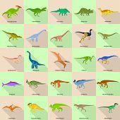 Dinosaur Types Signed Name Icons Set. Flat Illustration Of 25 Dinosaur Types Signed Name Icons For W poster