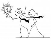 Cartoon Stick Drawing Conceptual Illustration Of Businessman Attacking Trophy Cup And Medal Winner C poster
