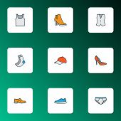 Garment Icons Colored Line Set With Shoe, Gumshoes, Half-hose And Other Panties Elements. Isolated V poster