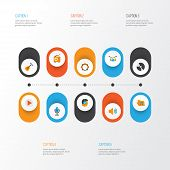 Audio Icons Flat Style Set With Compact Disk, Archive, Voice And Other Band Elements. Isolated  Illu poster