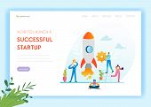 Business Startup Landing Page Template. Investment, Career Boost And Strategy Banner With Business P poster