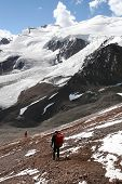 stock photo of aconcagua  - Two hikers descending Aconcagua - JPG
