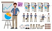 Male Business Character Creation Set. Office Man Cartoon Characters Showing Business Presentation Wh poster