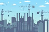 Concept Modern City Construction Buildings. Vector Illustration Cartoon Panorama Construction A New  poster