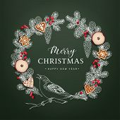 Bird On Christmas Wreath Made Of Hand Drawn Fir, Spruce Branches, Pine Cones, Red Berries, Dried App poster