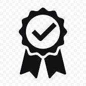 Quality Icon, Certified Check Mark Ribbon Label. Vector Premium Product Certified Or Best Choice Rec poster