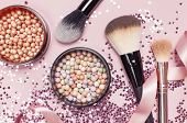 Different Cosmetic Makeup Brushes, Blush Powder Balls And Holographic Glitter Confetti In The Form O poster