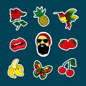 Fashion Patch Badges With Lipst, Beard Man, Cherry, Birds, Banana, Rose, Strawberry. Very Large Set  poster