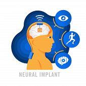Brain Implants. Neural Implants. Flat Vector Illustration poster