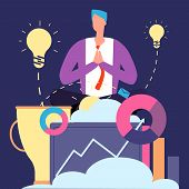 Meditation And Ideas Concept. Creative Businessman Relaxing Vector Illustration. Businessman Meditat poster