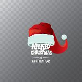 Vector Red Santa Hat Label Isolated On Transparent Background With Greeting Text Merry Christmas. Ca poster