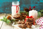 Baked Christmas Cookies. Homemade Chocolate Chip Cookies On A Wooden Table. Copy Space. poster