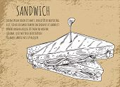 Sandwich Sketch On Fast Food Banner With Text. Snack Of Lettuce Leaves, Ripe Tomatoes, Tasty Ham And poster