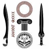 Ancient Greece Set. Shield With Gorgon Medusa Head, Ancient Greek Swords, Greek Column, And Greek Or poster