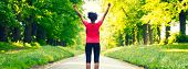 Panoramic web banner beautiful mixed race African American young woman girl teenager fitness running poster