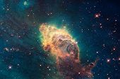 Beautiful Nebula And Bright Stars In Outer Space, Glowing Mysterious Universe. Elements Of This Imag poster