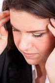 stock photo of mental_health  - Young pretty woman having headache - JPG