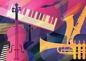 Abstract Jazz Art, Music Instruments, Trumpet, Contrabass, Saxophone And Piano. poster