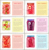 Canned Vegetables And Fruits, Strawberries And Blueberries, Plums And Pickled Peppers. Spicery And S poster