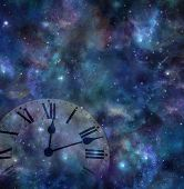 Time And Space Background - Faint Clock Face Merging With Dark Night Sky Background With Many Stars, poster