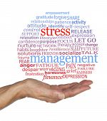 Burst The Stress Management Bubble Awareness Word Cloud - Female Open Palm With A Blue And Red Stres poster