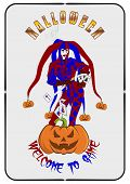 Vector Illustration To Helluin, The Image Of A Joker With A Dagger And Cards And The Laughing Loudly poster