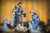 Christmas Manger Scene With Figurines Including Jesus, Mary, Joseph And Sheep poster