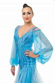 Girl On Smiling Face Dressed In Luxury Dress Posing With Posture. Dancer Of Ballroom Dance Looks Gor poster