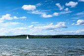 Yacht, Sailing On The Lake, Behind The Shore, Covered With Forest. Sunny Day, Blue Sky With Clouds,  poster