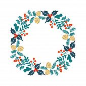 Winter Christmas Frame, Vector Illustration. Christmas Greeting Card With Wreath.  Perfect For Chris poster