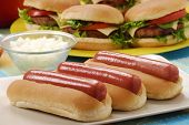 stock photo of hot dogs  - Couple Hotdogs - JPG
