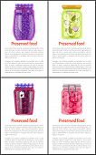 Preserved Food In Jars And Bottles Poster Or Flyer With Text Sample. Blueberry Jam, Canned Uncut Plu poster