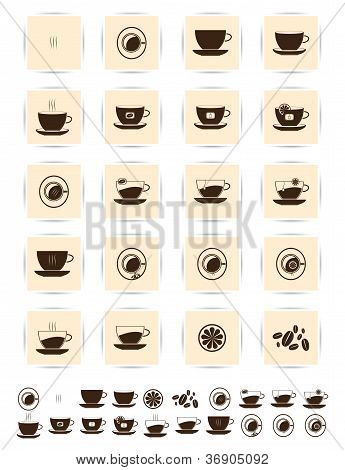 Vector brown coffee icons set. Cup cafe icon