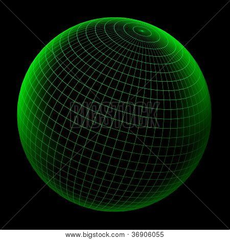 Wireframe Green Globe With Clipping Path