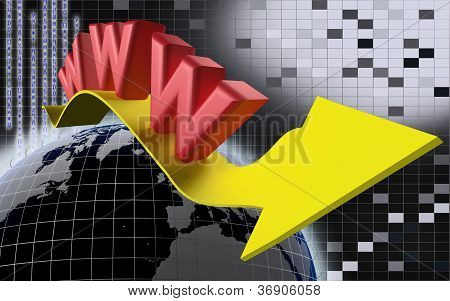 www Internet Concept With Yellow Arrow