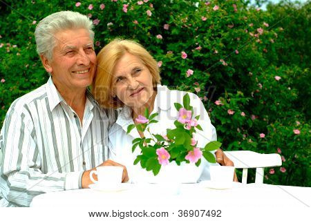 Beautiful Caucasian old couple