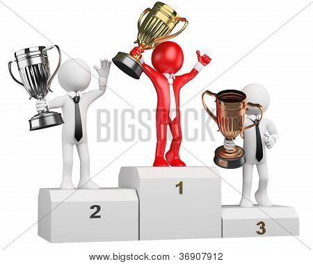 3D Businessman White People. Winner On Podium